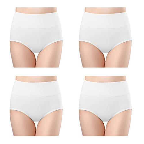 wirarpa Womens Cotton Underwear High Waisted Full Brief Panty Ladies No Muffin Top Underpants 4 Pack White Size 10, XXX-Large