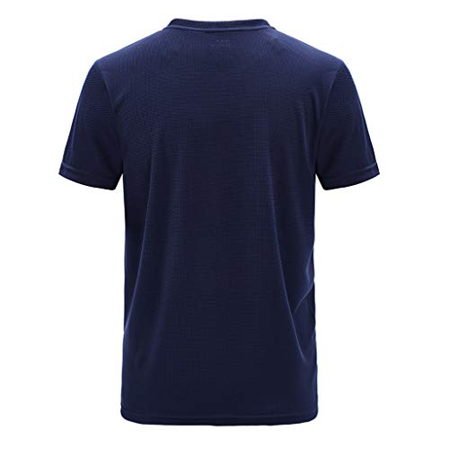 Men's Summer Casual Outdoor T-Shirt Plus Size Sport Fast-Dry Breathable Tops Dark Blue for $<!--$6.69-->