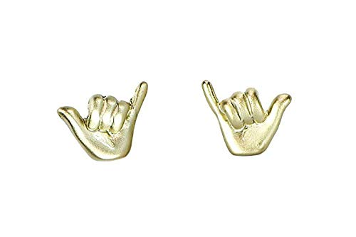 Pura Vida Gold Shaka Stud Earring Set - Brass Base w/Sterling Silver Post - Gold Coated Plating