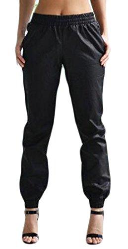 Pandapang Womens Comfy Faux Leather Elastic Wasit Baggy Soft Jogger Pants Black Large