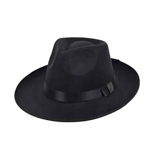 Hat Wide Brim Fedora Trilby Panama Hat Gangster Cap Pure Color Jazz Hat with Ribbon Winter Vintage Men Women Black