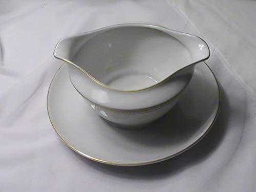 (Emdeko Fine China Japan Dalene Gold Trim Gravy bowl w/attached plate )