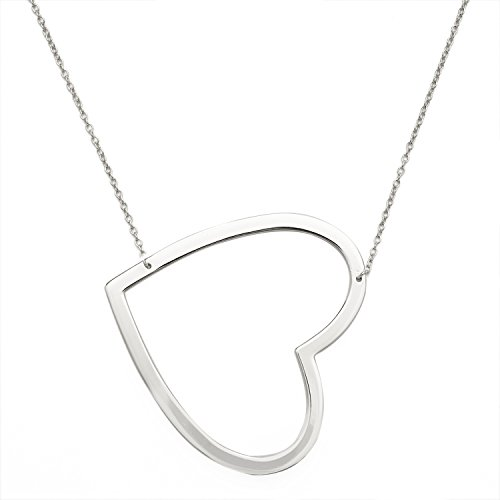 JewelryWeb Sterling Silver Open Sideways Oversized Heart 16-inch +1-inch Extender Necklace -