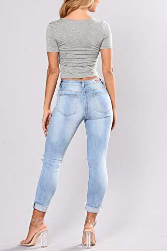 Ricamati Distrutto Jeans Blu Attillati Vita Alta Donne Dazosue A Le Pantaloni 7EqwAA