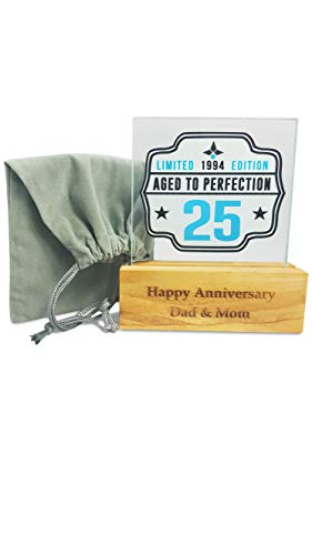 (1994 25th Birthday gifts for men women- Personalized 3 in 1 gift idea. Wine glass coaster & décor for Anniversary, Him, Her, Mom, Dad, Husband or Wife, Grandma. Comes with gift bag. Made in USA (25th))