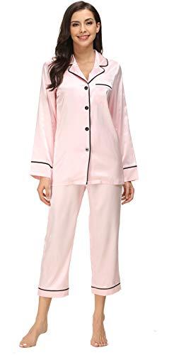 Kiddom Womens Classic Silk Satin Sleepwear Girls Pajamas Set Ladies Loungewear Collar Pockets Long Sleeve
