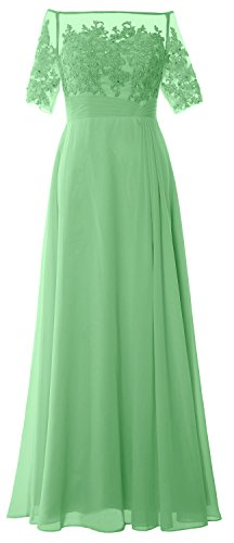 MACloth Women Off Shoulder Mother of Bride Dress Short Sleeve Lace Formal Gown Menta