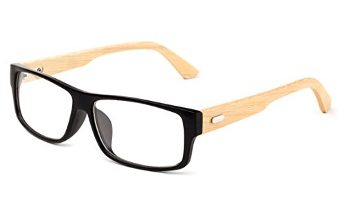 Newbee Fashion - Kayden Retro Unisex Plastic Fashion Clear Lens Glasses Bamboo Matte Black