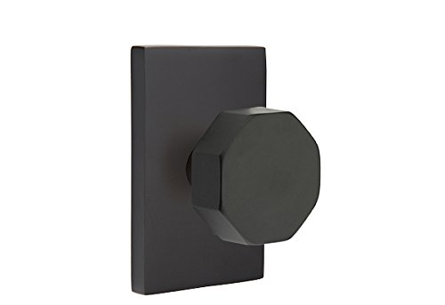 Privacy Set, Modern Rectangle Rosette, Octagon Knob, Flat Black