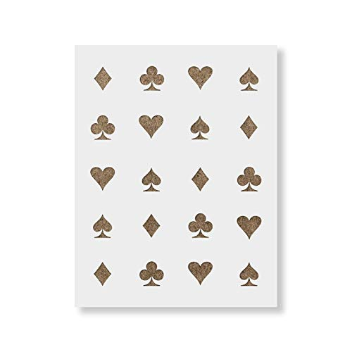 (Hearts Clubs Diamonds Spades Stencil Template - Reusable Pattern Stencil with Multiple Sizes Available)