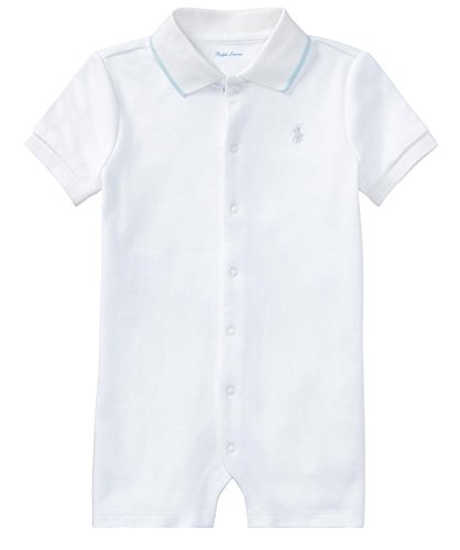 Ralph Lauren Baby Boys Cotton Interlock Polo Shortall (18 Months, White) (Interlock Embroidered)