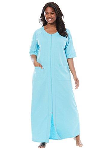 052489b9619 Dreams   Co. Women s Plus Size Long French Terry Zip-Front Robe Aqua