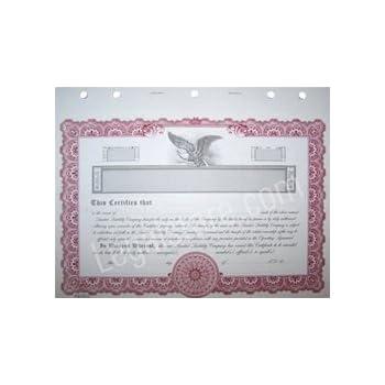 goes llc stock certificates maroon border 25 per package