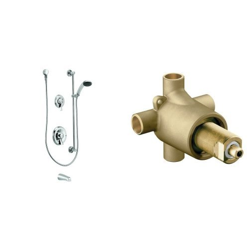Chrome Moen Incorporated Moen T8341 Commercial Posi-Temp Pressure Balancing Tub//Shower System 2.5 gpm