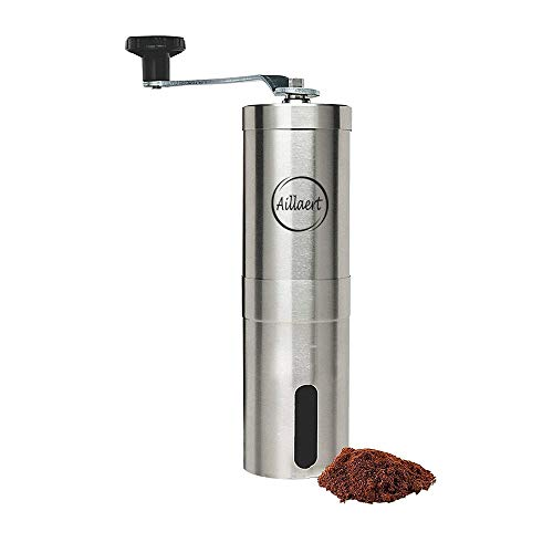 Manual Coffee Grinder – Burr Coffee Grinder in Stainless Steel – Portable & Light Hand Coffee Bean Grinder with Conical Ceramic Burr – Adjustable Grind Settings for Coffee Brews – Easy to Use & Clean – Suitable for Travel, Camping, Backpacking