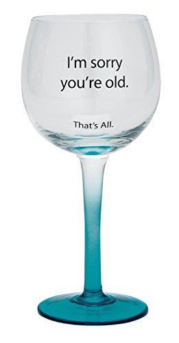 Santa Barbara Design Studio Sorry You're Old That's All Wine Glass, Blue (Old Time Santa)