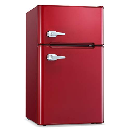 Antarctic Star Compact Mini Refrigerator Separate Freezer, Small Fridge Double 2-Door Adjustable Removable Stainless Steel Shelves Garage Camper Basement/Dorm/Office 3.2 cu.ft.Red