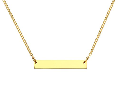 VNOX Customized 18K Gold Plated Stainless Steel Bar Pendant Necklace 20