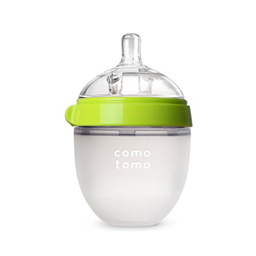 Comotomo Natural Feel Baby Bottle, Green, 5 Ounces (Silicone Flow)