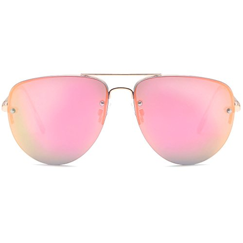 SUN LOUNGER Women's Oversized Metal Frame Classic Aviator Sunglasses with Spring Hinges – Mirror Pink Lens on Gold - For Sale Aviator