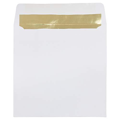 (JAM PAPER 8.5 x 8.5 Square Foil Lined Invitation Envelopes - White with Gold Foil -)