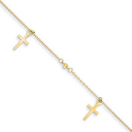 14kt Yellow Gold Polished and Textured Cross w/1in ext. Anklet; 9 inch ()