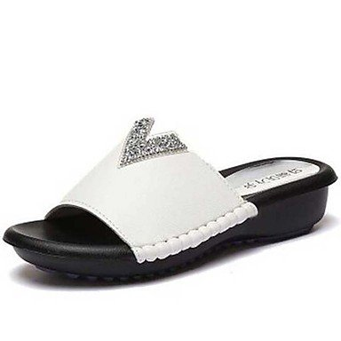 Women'szapatillas &Amp; Flip-Flops Primavera / Verano / Oto?o zapatillas sint¨¦ticas / vestimenta casual tal¨®n plano Pearl Negro / Blanco US7.5 / EU38 / UK5.5 / CN38