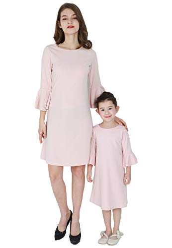OMZIN Mommy and Me Matching Dresses Half Sleeve Casual Dress Apricot 6-7 Years