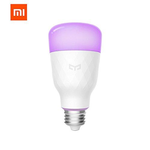 Smart LED Leuchtmittel, 16 Millionen Farben E27 10 W 110 V RGB dimmbar 800 lm WLAN Leuchtmittel, kompatibel mit Alexa, Google Assistant Yeelight