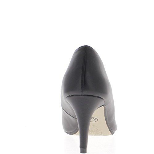 Tagliente sottile nero 7cm aspetto camoscio tacchi pompe