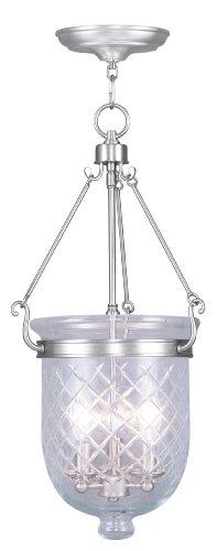 livex lighting 5074–91–Jefferson 3-Light cadena colgar, níquel cepillado
