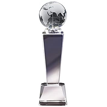 Amazon 875 Globe Crystal Trophy With 4 Lines Of Custom Text Sporting Goods Sports Outdoors