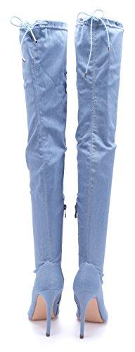 Stiefel cm High Damen Schuhtempel24 Stiefeletten 11 Overknee Heels Stiletto Schuhe Blau Boots Zierschleife qtFxOaz