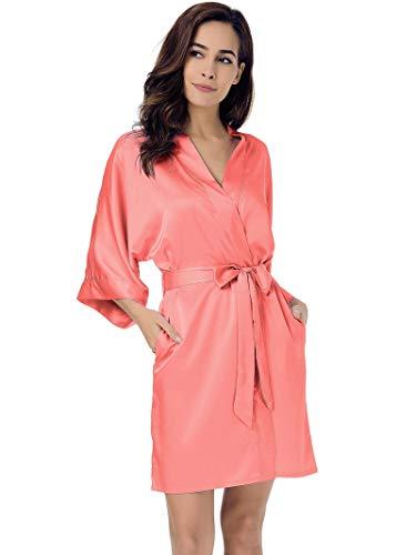 SIORO Women's Satin Robe,Silky Kimono Bathrobe for Bride Bridesmaids,Wedding Party Loungewear Short, Coral Pink XL
