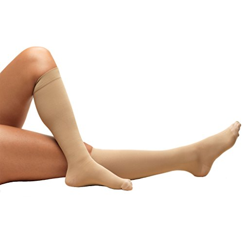 Truform Surgical Stockings, 18 mmHg Compression for Men and Women, Knee High Length, Closed Toe, Beige, 2X-Large