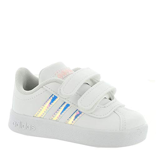 Infant White Footwear - adidas Kids Unisex VL Court 2 CMF (Infant/Toddler) Footwear White/Footwear White/Clear Orange 5 M US Toddler