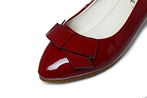 Amoonyfashion Damesschoenen Solide Puntig Gesloten Teen Lakleder Pumps-schoenen Claret
