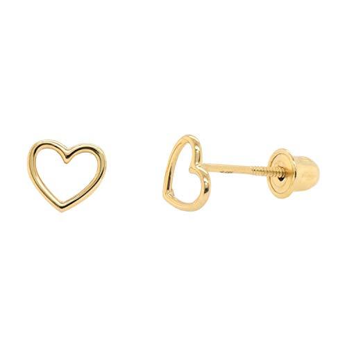 14k Solid Gold Wire Style Open Heart Studs Screw Back Earrings -YG ()