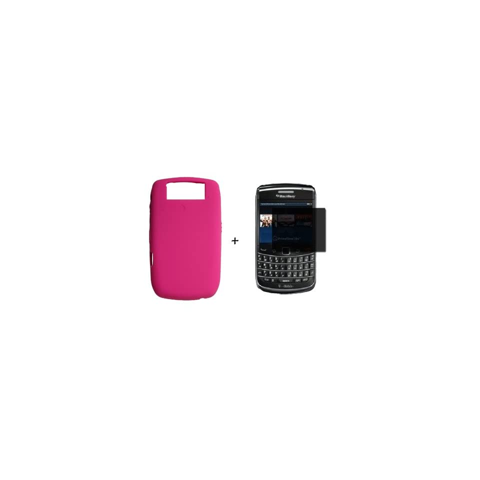 BLACKBERRY BOLD 8900 HOT PINK SILICONE SKIN CASE *PLUS* PRIVACY SCREEN PROTECTOR