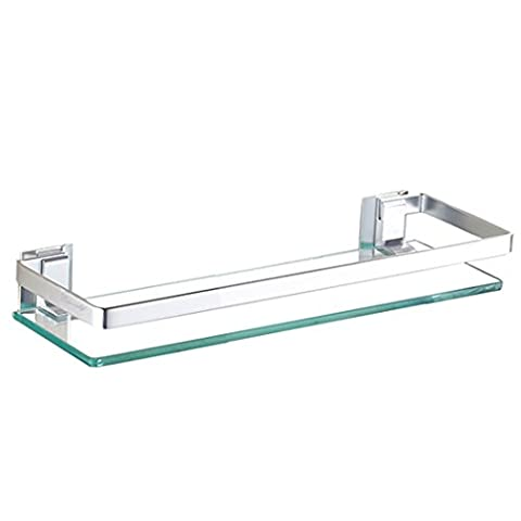Aluminum Bathroom Glass Rectangular Shelf Wall Mounted Heavy Duty Glass (1 Tier)