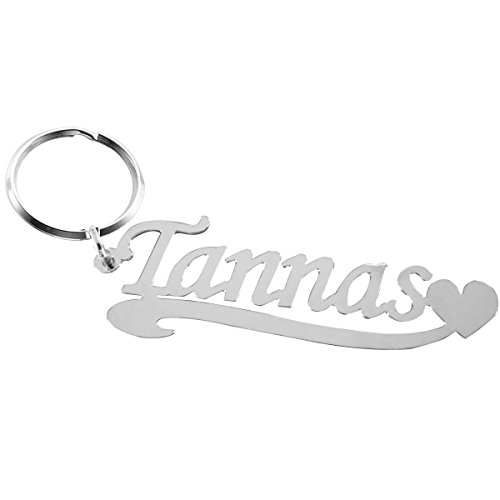 Ouslier 925 Sterling Silver Personalized Name Key Chain Custom Made with Any Names (Silver) ()