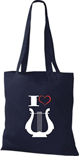 Shirtstown Stoffbeutel Musik I love Hand Harfe Harp Navy odKG0V5z