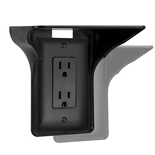 Storage Theory | Power Perch | Ultimate Outlet Shelf | Easy Installation, No Additional Hardware Required | Holds Up to 10lbs | Black Color | 2 Pack
