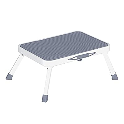 VALORCASA Folding Step Stool Adults Portable Steel One Stool Ladder with Non Slip Rubber Platform for Kitchen Bed,330-Pound Capacity