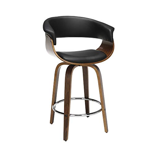 OFM 161 Collection Mid Century Modern 26 Low Back Bentwood Frame Swivel Seat Stool, Vinyl Upholstery, in Black 161-WV26D-BLK