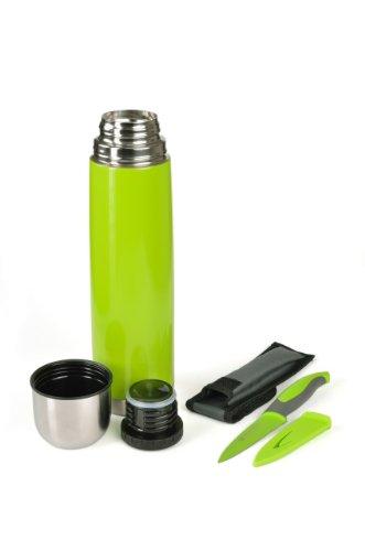 Isolierflasche 1 L , Dichter Drehverschluss farbig inkl. Allzweckmesser, Farbauswahl:C6 grün