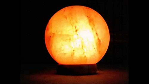 A-Star(Tm) Natural Crystal Salt Lamp USB Plug with Genuine Wood Base (Globe) by A-Star(Tm)