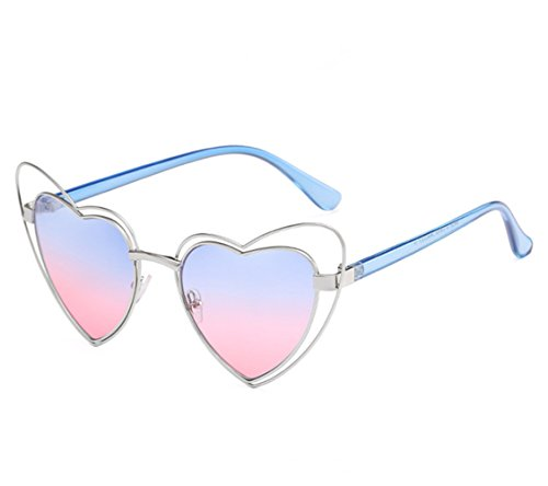 Women Double Rimmed Double Wire UV400 Cat Eye Sunglasses Heart Shaped Sunglasses (Silver Frame Blue and Pink Lens) (Fade Blue Lens)