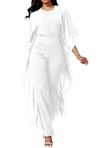 Pink Queen Women's Elegant Chiffon Overlay High Waisted Pants Dating Jumpsuits,White,,X-Large Black Pants Suit