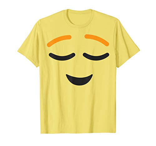 Relieved Face Emoji Easy Lazy Group Halloween Costume T-Shirt